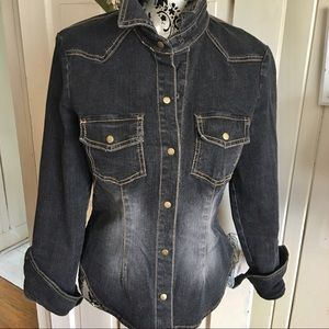 Vintage Black Denim Shirt -M cotton /spandex ,